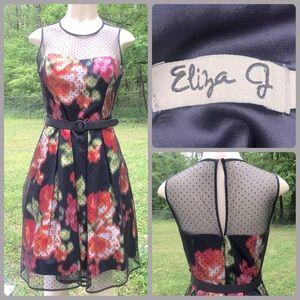 Eliza J Floral Flocked Dot Illusion Dress Pockets